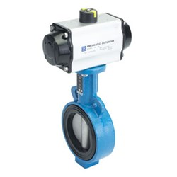 CAST IRON BUTTERFLY VALVE - WAFER x Pneumatic Actuated - Spring Return