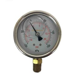SS COMPOUND GAUGE - 150 mm, Bottom Entry x 1/2 BSP, Custom Branded