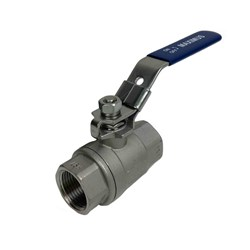 STAINLESS STEEL 316 BALL VALVE x 2 Piece, Lockable handle, BSP Female, PTFE